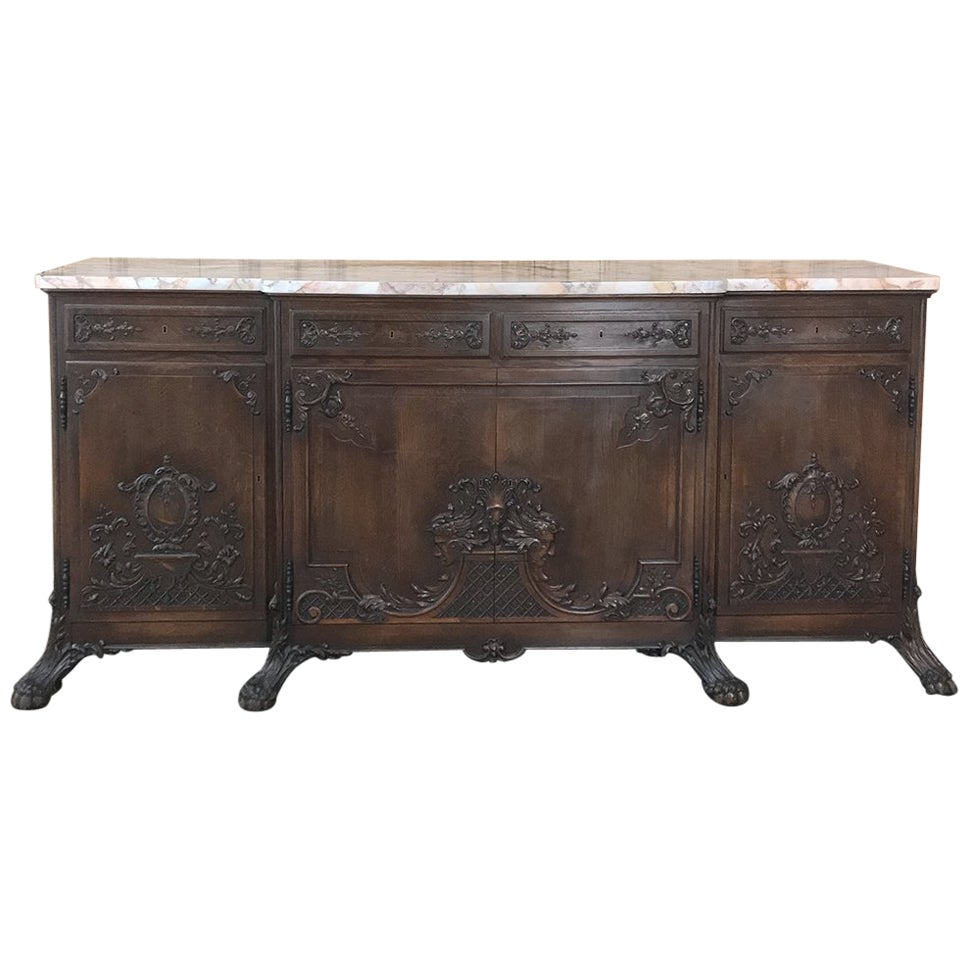 19th Century French Louis XIV Marble-Top Buffet