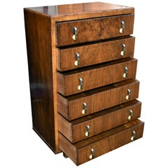English 1930s Art Deco Figured Walnut Chest of Six Drawers