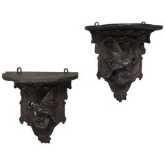 Pair of 19th Century Black Forest Wall Sconces