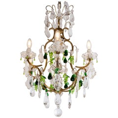 20th Century Brass and Crystals French Chandelier