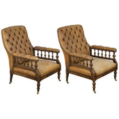 Pair of William IV Leather Parlor Chairs