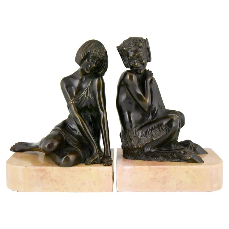 Pierre Le Faguays Art Deco Bronze Bookends Satyr and Girl, France, 1930 For Sale