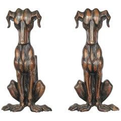 Art Deco Copper Dog Andirons