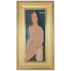 Midcentury Abstract Figure Oil Painting by Sterling Boyd Strauser