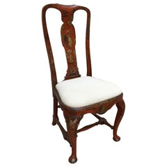 Queen Anne Period 18th Century Red Lacquered Side Chair