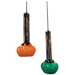 Pair of Esperia Pendants Cold Painted in Orange and Green, Italy, 1970s