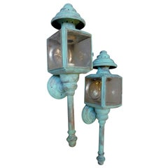 Pair of Verdigris Carriage Lamps