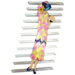 Postmodern Wall Sculpture of a Woman in Fancy Dress