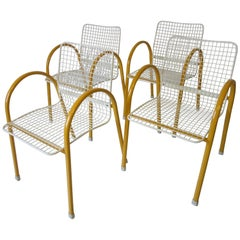 Memphis Styled Italian Stacking Wire Dining Chairs by EMU