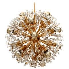 Emil Stejnar Sputnik Chandelier, Gilt Brass Glass, 1970, One of Three