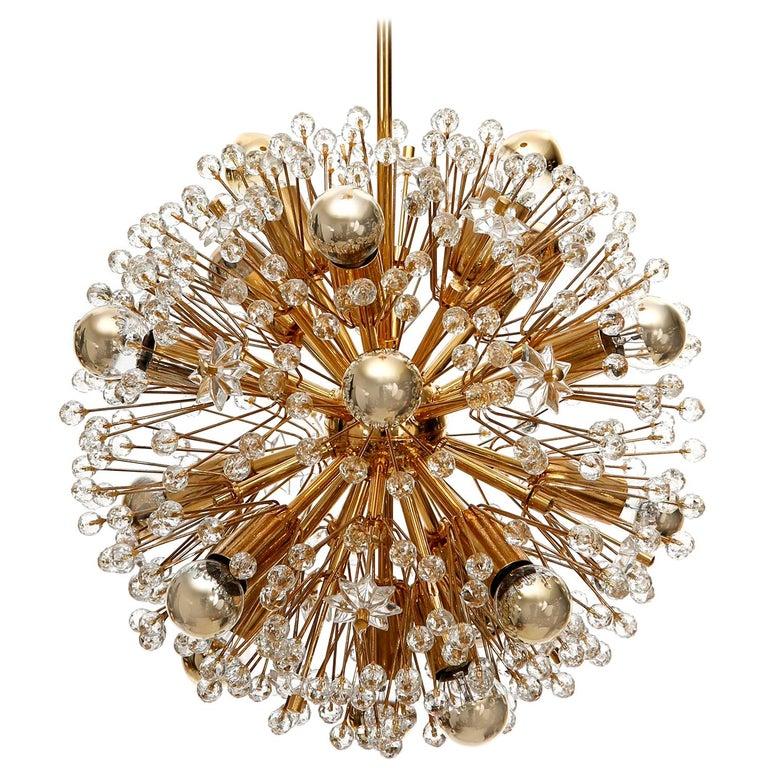 Emil Stejnar Sputnik Chandelier, Gilt Brass Glass, 1970, One of Three For Sale