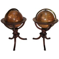 Pair of Miniature 19th Century Globes, Terrestrial and Celestial