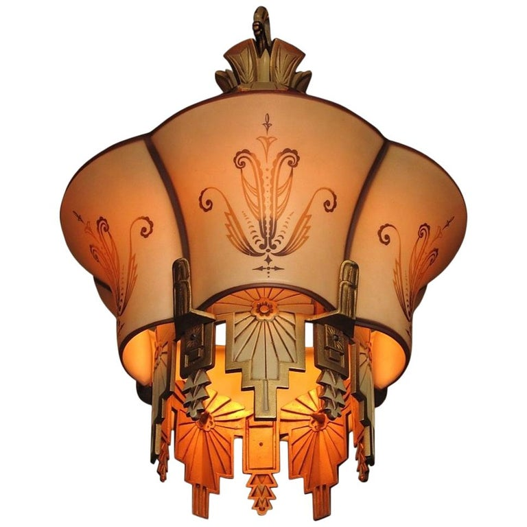 Large, Rare Beardslee Chandelier with Matching Sconces For Sale
