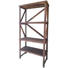 Early 20th Century Wooden Shelf Unit Industrial
