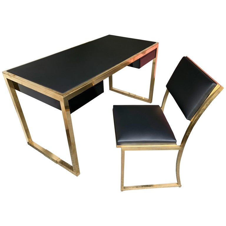 Leather Furniture Repair Fargo Nd: Lacquered Brass Desk And Chair By Guy Lefevre For Maison