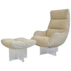 Vladimir Kagan Lucite Lounge Chair and Ottoman