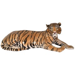 Large Midcentury Hand Painted Terra-Cotta Tiger, Signed on Base Made in Italy