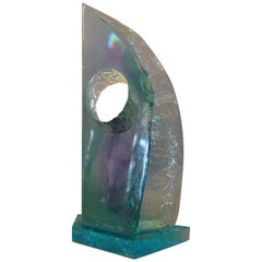 Modern Abstract Blue Shades Acrylic Sculpture by Young, 1998