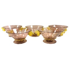 Set of Five Salviati Venetian Hand Blown Murano Glass Bowls Art Deco Italy 1920s