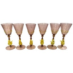Set of Six Salviati Venetian Murano Glass Stemware Glasses Stems Goblets, Italy