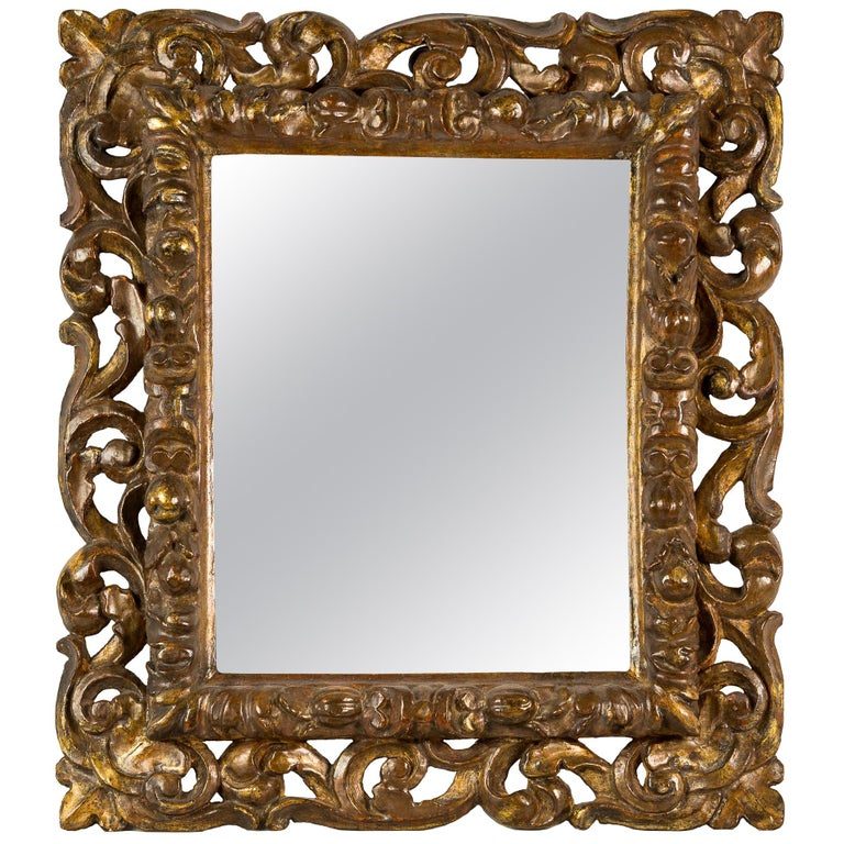 Italian Carved Wooden Frame, Italy, 17th Century, Florence Baroque Mirror For Sale