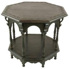 Antique Side Table, Jacobean Oak Octagonal Center Table, Scotland 1890s, B1363