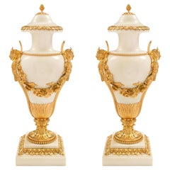 Pair of French 19th Century Louis XVI Style Carrara Marble & Ormolu Cassolettes