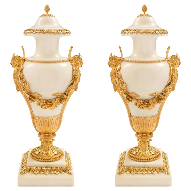 Pair of French 19th Century Louis XVI Style Carrara Marble & Ormolu Cassolettes For Sale