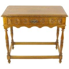 Antique Oak Table, Carved Tiger Oak Hall Table, Scotland, 1910s