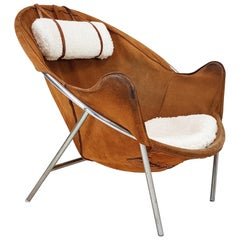 Erik Jørgensen Lounge Chair for Olaf Black, in Cognac Suede, Denmark, 1953