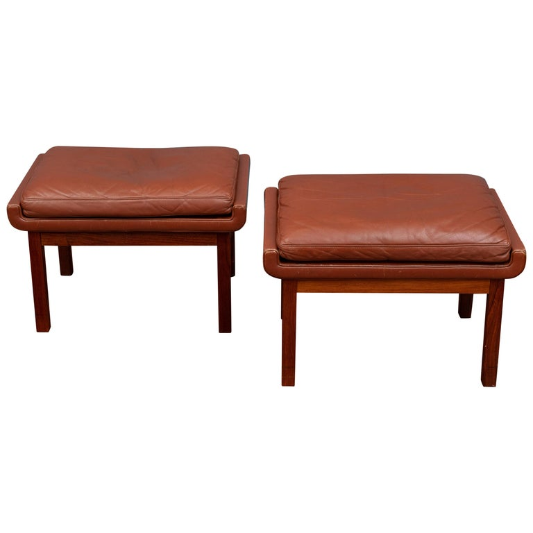 Danish Leather Ottomans For Sale