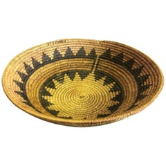 Native American Navajo Tribe Unique Hand Woven Large Coil Wedding Basket