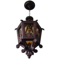 Large Hand Carved 20th Century Wooden Pendant Light with Amber Glass Panels