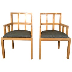 Stunning Pair of Contemporary Modern Birch Arm Chairs, Bernhardt Furniture Co.