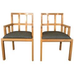 Stunning Pair of Contemporary Modern Birch Arm Chairs, Bernhardt Furniture Co.