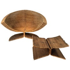 "Large Woven Wicker ""lotis"" Lounge Chair and Ottoman by Danny Ho Fong"