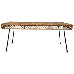Classic Mid-Century Modern Wicker and Iron Cocktail Table by Danny Ho Fong