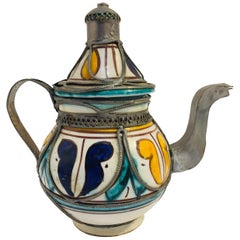 Moroccan Ceramic and Silver Filigree Decorative Tea Pot