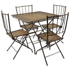 Folding Five-Piece Faux Bamboo Card Table Cafe Table Set
