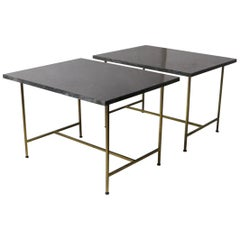 Pair of Brass and Marble End Tables by Paul McCobb