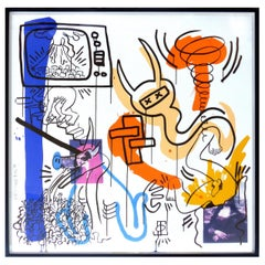 """Keith Haring Silkscreen Print """"Apocalypse 7"""" Dated 1988, Signed and Numbered 5/5"""