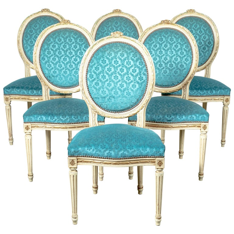 Set of Six Louis XVI Style Maison Jansen Parcel-Gilt and Painted Dining Chairs For Sale