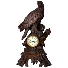 Black Forest Carved Wood Eagle Table Clock Swiss, circa 1900