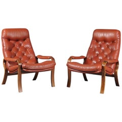 Scandinavian Set of Two Leather Lounge Chairs, 1970s