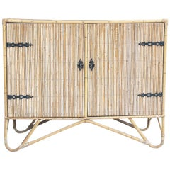 1950s Small Rattan Sideboard Cabinet in the French Riviera Style