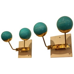 Pair of Turquoise Blue Murano Glass Sconces