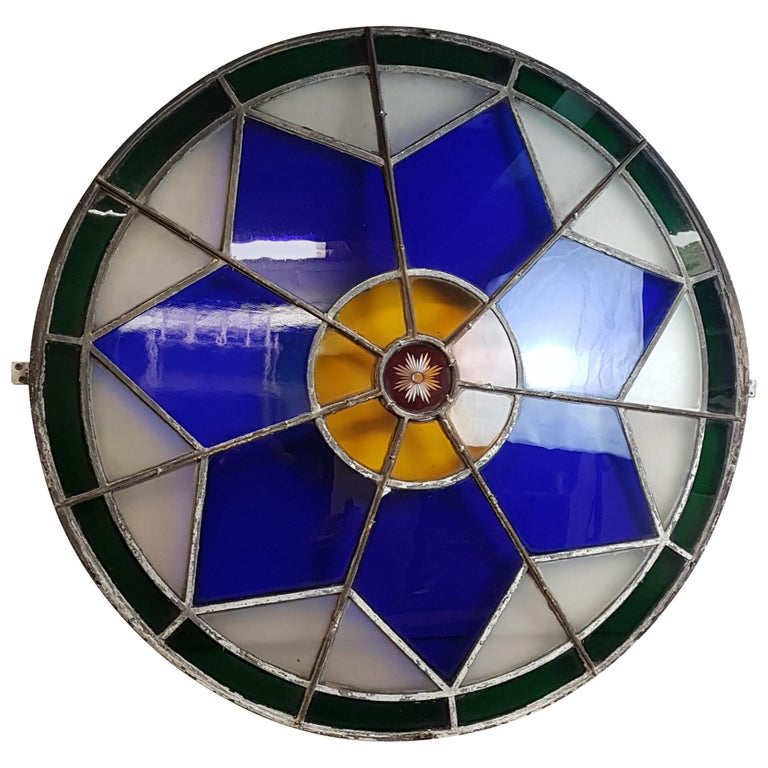 Large 19th Century Convex Stained Glass Window For Sale