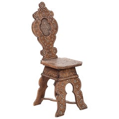 19th Century Italian Wooden Chair with Ivory Inlay
