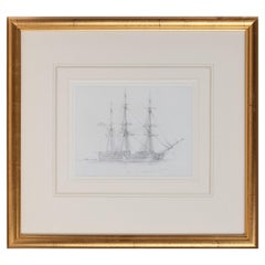 "Pencil Drawing of ""Canton"" a Three Masted Whaling Ship by Harold Wylie"
