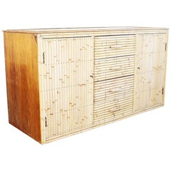 1960s Bamboo and Glass Sideboard in the Style of Gabriella Crespi